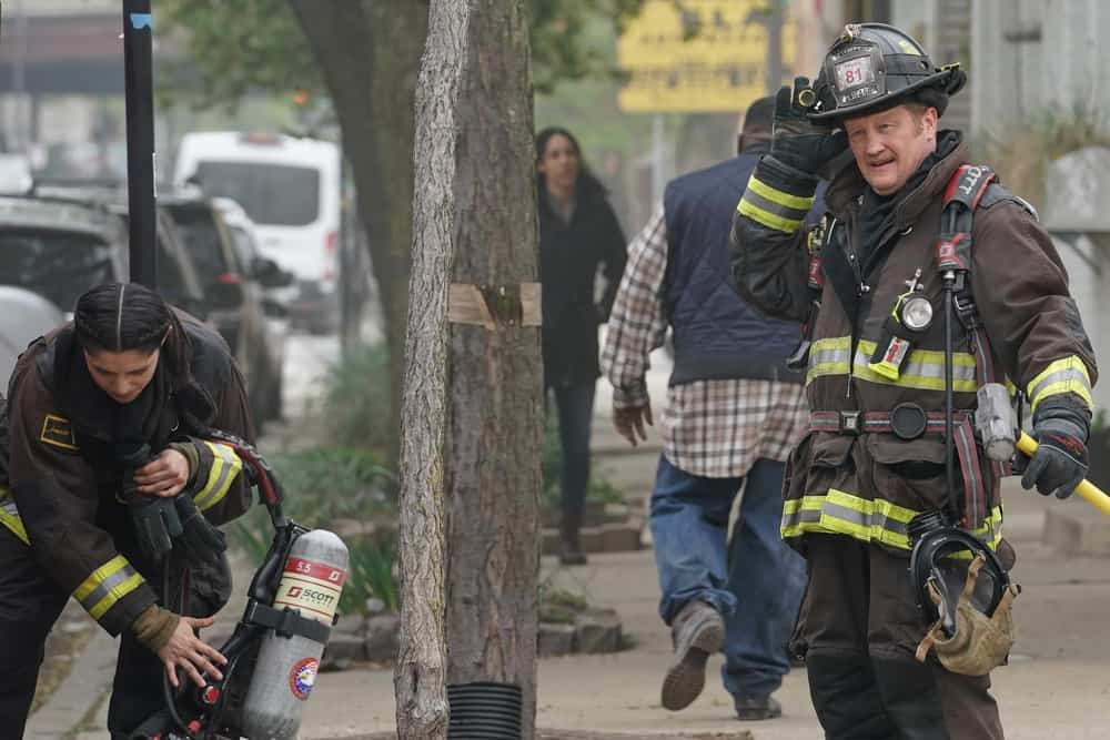 """CHICAGO FIRE Season 9 Episode 15 -- """"A White Knuckle Panic"""" Episode 915 -- Pictured: (l-r) Miranda Rae Mayo as Stella Kidd, Christian Stolte as Randall """"Mouch"""" McHolland -- (Photo by: Lori Allen/NBC)"""