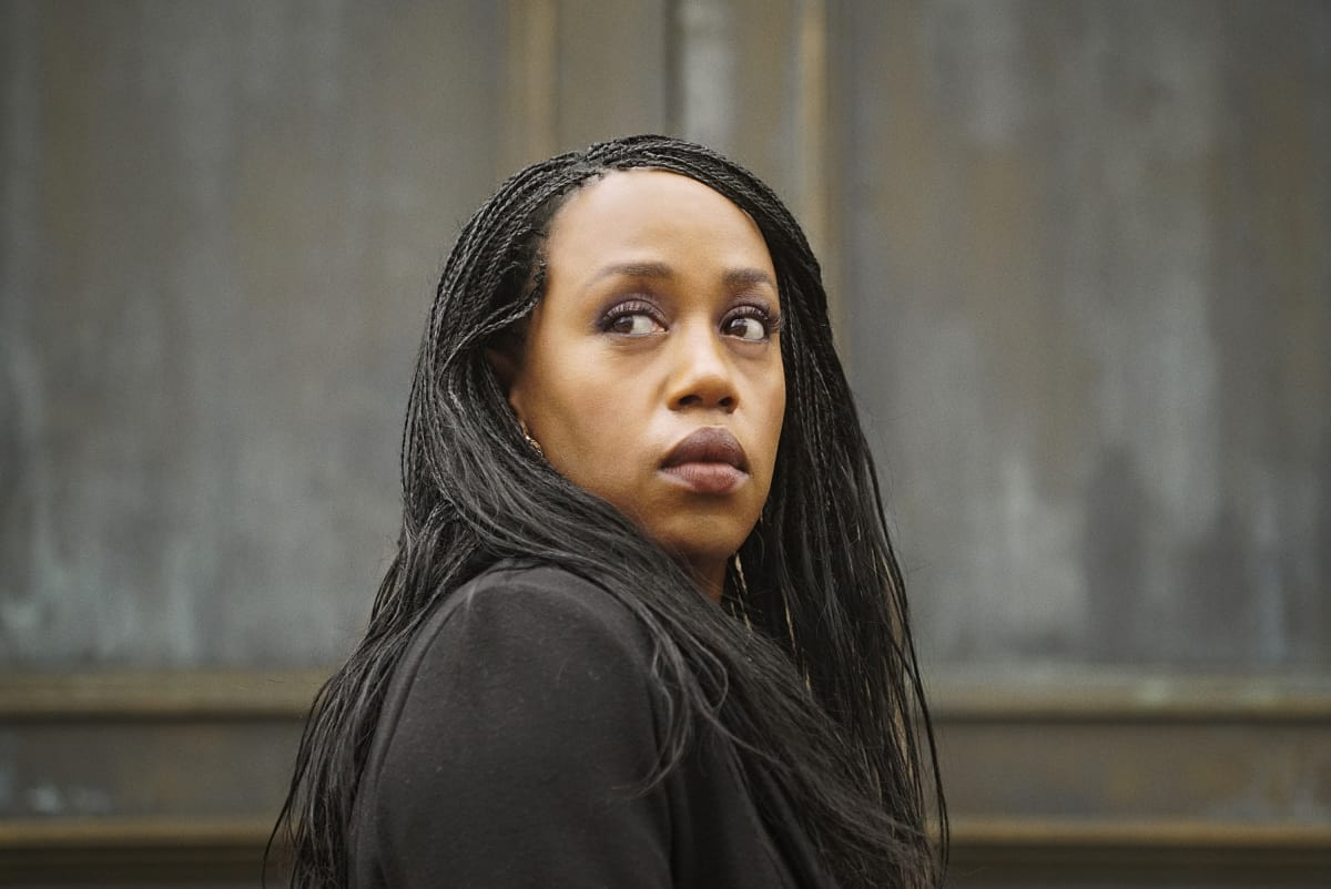"""NANCY DREW Season 2 Episode 16 -- """"The Purloined Keys"""" -- Image Number: NCD216a_0102r.jpg -- Pictured: Rukiya Bernard as Val Samuels -- Photo: Shane Harvey/The CW -- © 2021 The CW Network, LLC. All Rights Reserved."""