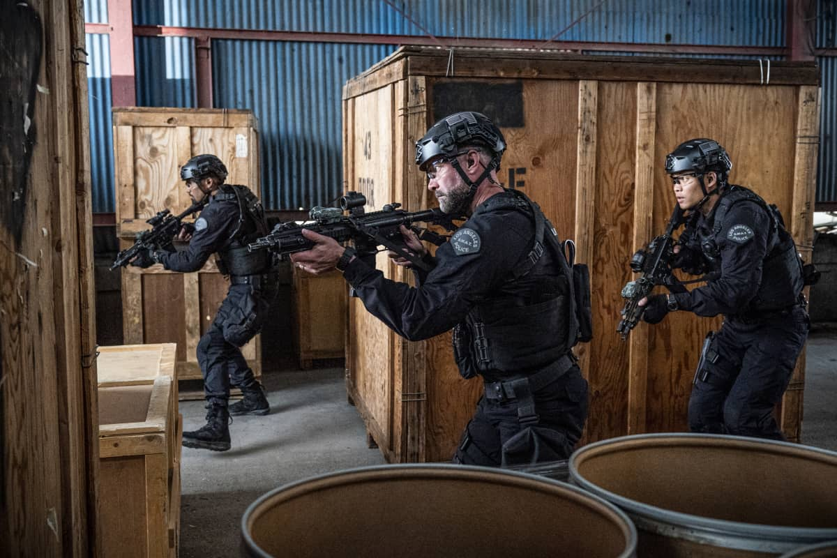 """SWAT Season 4 Episode 17 """"Whistleblower"""" – The team races to rescue victims of a sex trafficking ring that's preying on disenfranchised women. Also, Hondo finds himself at odds with Leroy and Darryl over the future of their business, and Street confronts Chris about meeting with his hospitalized mom, on S.W.A.T., Wednesday, May 19 (10:00-11:00 PM, ET/PT) on the CBS Television Network. Pictured (L-R): Shemar Moore as Daniel """"Hondo"""" Harrelson, Jay Harrington as David """"Deacon"""" Kay, and David Lim as Victor Tan. Photo: Bill Inoshita/CBS ©2021 CBS Broadcasting, Inc. All Rights Reserved."""