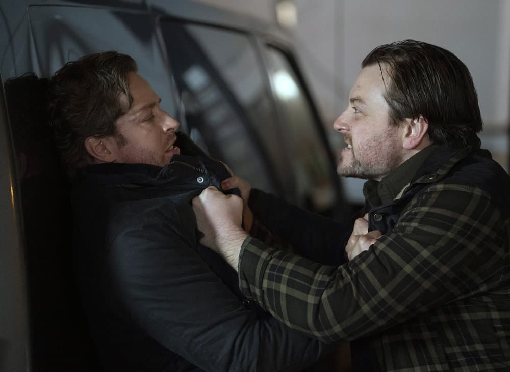 "MANIFEST Season 3 Episode 10 -- ""Compass Calibration"" Episode 310 -- Pictured: (l-r) Josh Dallas as Ben stone, Patrick Murney as Cody Webber -- (Photo by: Peter Kramer/NBC)"