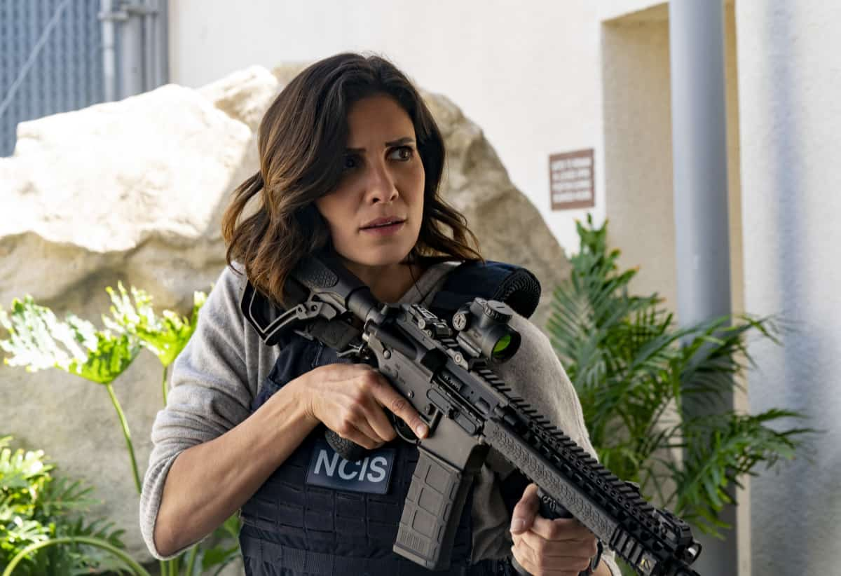 """NCIS LOS ANGELES Season 12 Episode 18 """"A Tale of Two Igors"""" – Deeks is kidnapped by an associate of Kirkin's (Ravil Isyanov) in need of his help and NCIS investigates the shooting of a militarized dolphin equipped with a Russian microchip. Also, Beale makes Nell an interesting offer and Hetty returns, on the 12th season finale of NCIS: LOS ANGELES, Sunday, May 23 (9:00-10:00 PM, ET/PT) on the CBS Television Network.  Pictured: Daniela Ruah as Special Agent Kensi Blye. Photo: CBS ©2021 CBS Broadcasting, Inc. All Rights Reserved."""