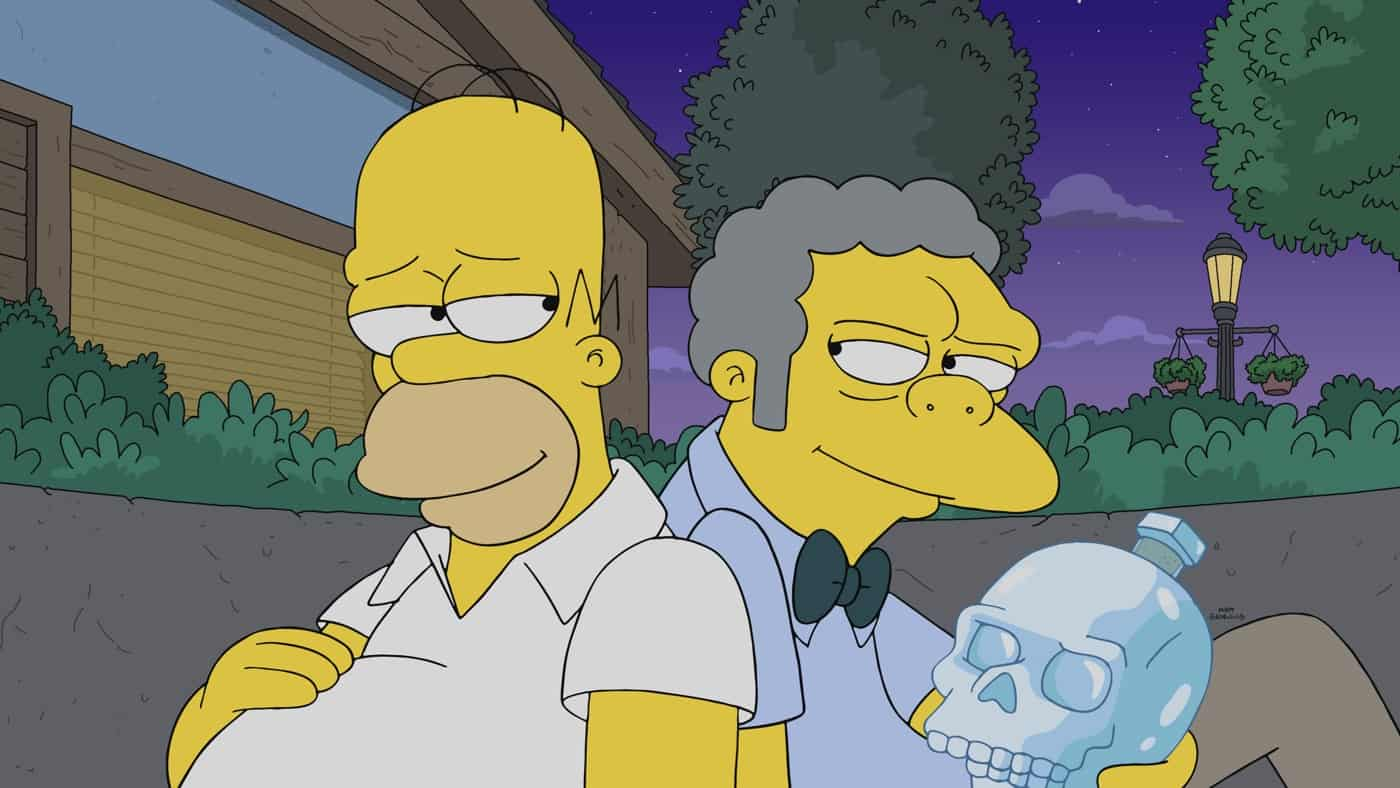 """THE SIMPSONS Season 32 Episode 22 : After Moe breaks their most sacred rule, a secret society of bartenders seeks ultimate vengeance on Homer and his friends in the """"The Last Barfighter"""" season finale episode of THE SIMPSONS airing Sunday, May 23 (8:00-8:30 PM ET/PT) on FOX. THE SIMPSONS © 2021 by 20th Television."""