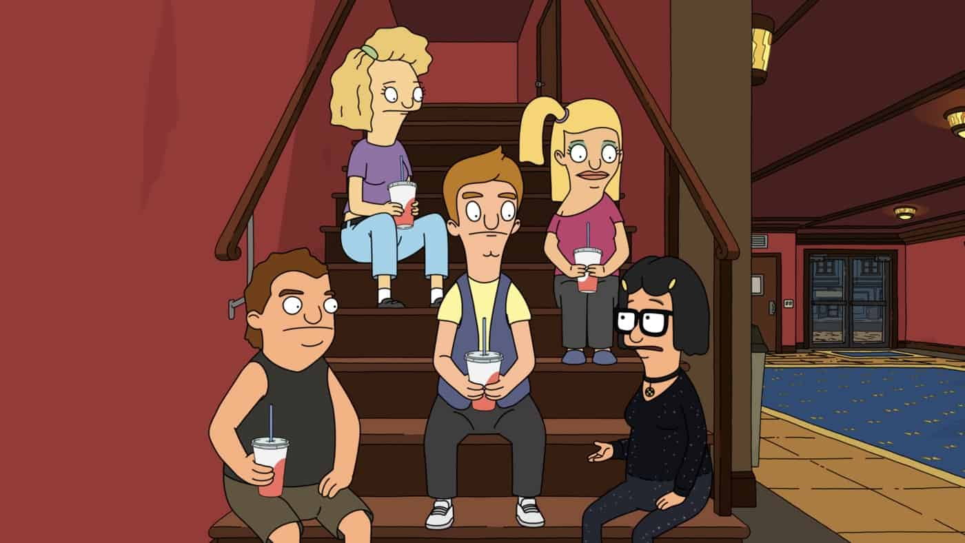 """BOB'S BURGERS Season 11 Episode 22 : After Tina and Bob plan a father-daughter date to see Bob's favorite old campy vampire-sing-along movie, Tina decides to invite her group of friends along, as well. Meanwhile, Linda opens a restaurant for the raccoons in their alley in the """"Vampire Disco Death Dance"""" season finale episode of BOBíS BURGERS airing Sunday,  May 23 (9:00-9:30 PM ET/PT) on FOX. BOBíS BURGERS © 2021 by 20th Television."""