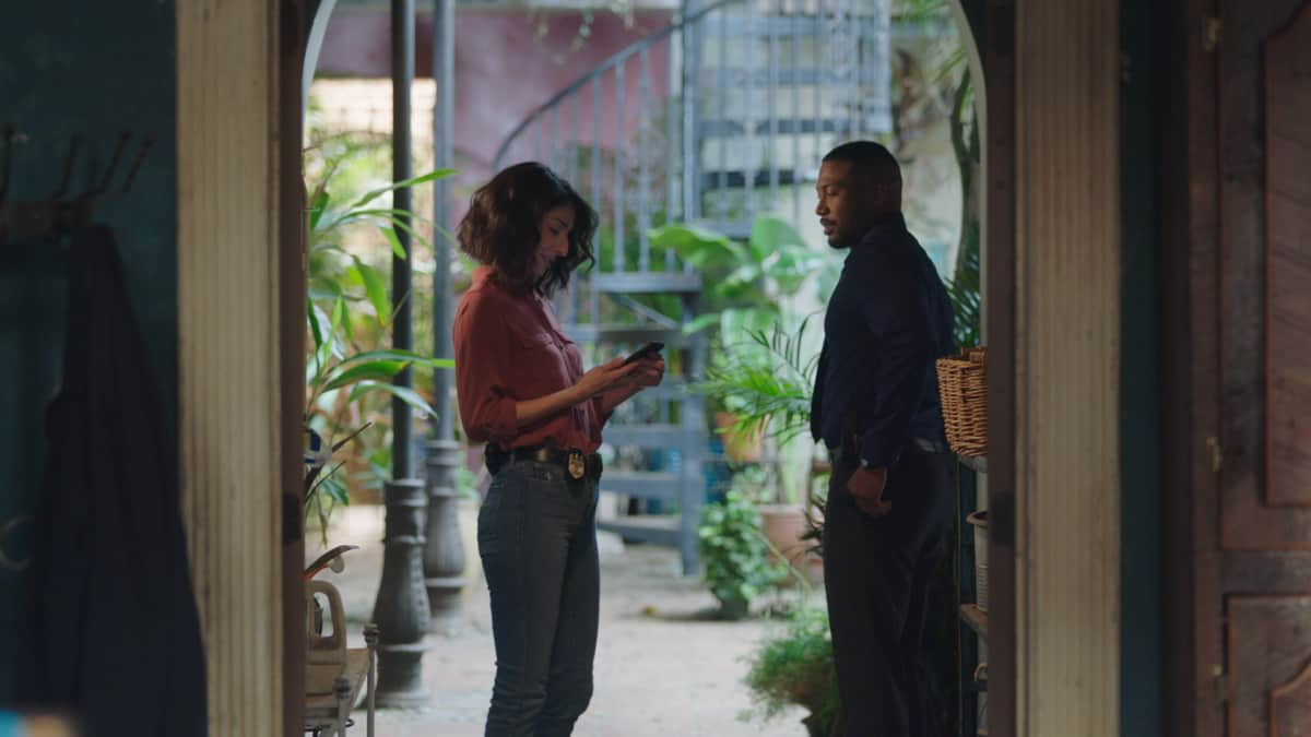 NCIS NEW ORLEANS Season 7 Episode 16 Laissez les Bons Temps Rouler On the eve to PrideÕs wedding to Rita, and Connor entering witness protection, Pride must find who attacked Jimmy (Jason Alan Carvell) and Connor (Drew Scheid), while also figuring out SashaÕs (Callie Thorne) ulterior motives regarding their son, on the series finale of ÒNCIS: NEW ORLEANS,Ó Sunday, May 23 (10:00-11:00 PM, ET/PT) on the CBS Television Network. Pictured L-R: Necar Zadegan as Special Agent Hannah Khoury and Charles Michael Davis as Special Agent Quentin Carter Photo: Screen Grab/CBS ©2021 CBS Broadcasting, Inc. All Rights Reserved.