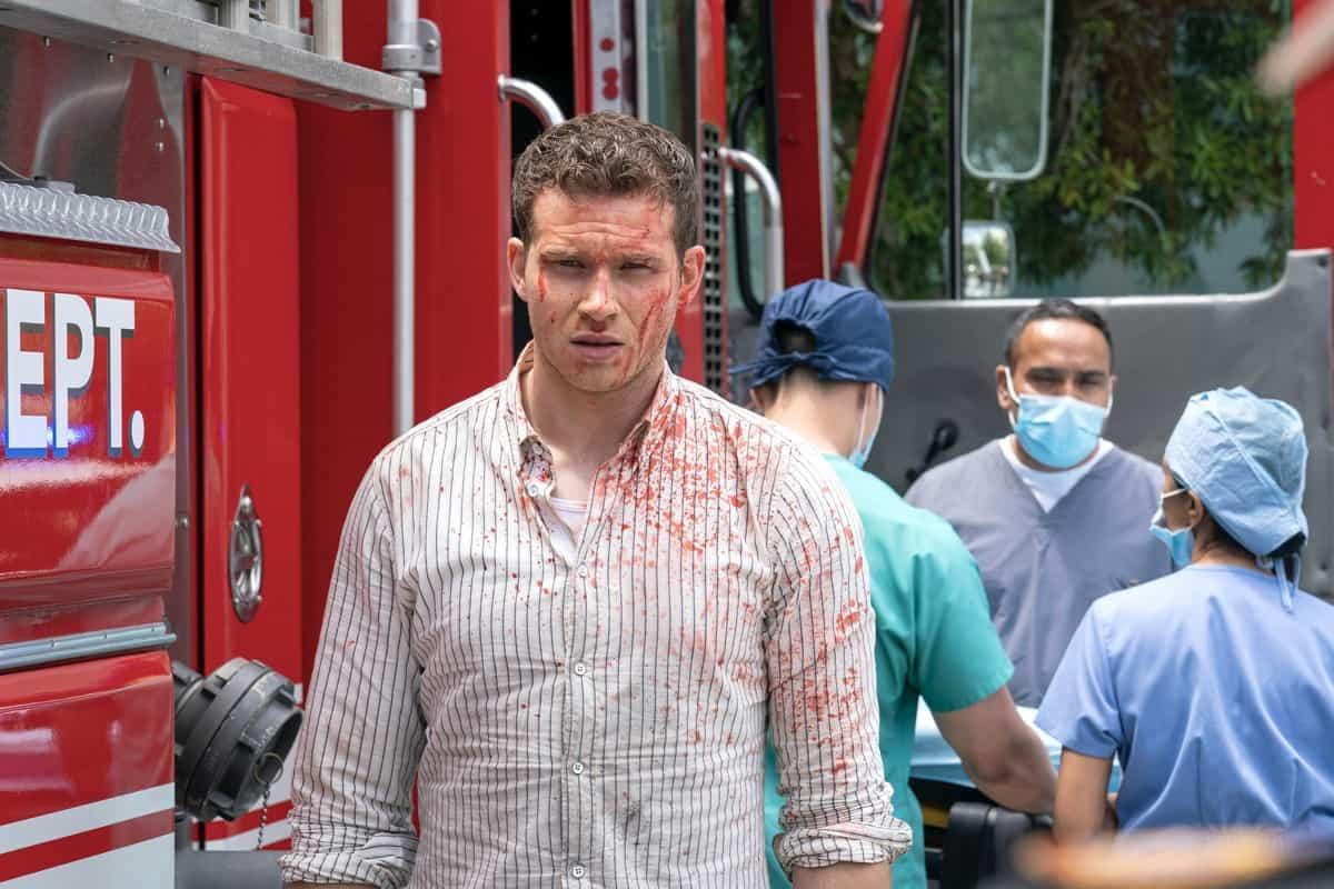 "9-1-1 Season 4 Episode 14:  Oliver Stark in the ""Survivors"" episode of 9-1-1 airing Monday, May 24 (8:00-9:00 PM ET/PT) on FOX. CR: Jack Zeman /FOX. © 2021 FOX Media LLC."