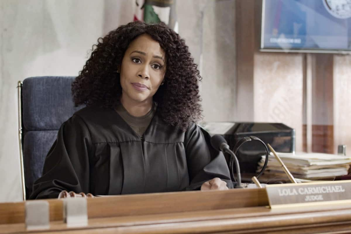 """ALL RISE Season 2 Episode 17 """"Yeet"""" – The murder trials against Alexander Moore (Zayne Emory) and Jack Allen (Derek Luh) begin, and the pressure mounts when Lola agrees to allow media into the courtroom to support her re-election campaign. Also, Mark and Amy commit to their relationship, even though they're on opposite sides of the trial, and Luke looks for a way to win Emily back, on the second season finale of ALL RISE, Monday, May 24 (9:00-10:00 PM, ET/PT), on the CBS Television Network. Pictured: Simone Missick as Lola Carmichael Photo: Screen Grab/CBS ©2021 CBS Broadcasting, Inc. All Rights Reserved."""