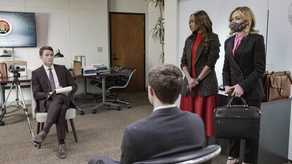 """ALL RISE Season 2 Episode 17 """"Yeet"""" – The murder trials against Alexander Moore (Zayne Emory) and Jack Allen (Derek Luh) begin, and the pressure mounts when Lola agrees to allow media into the courtroom to support her re-election campaign. Also, Mark and Amy commit to their relationship, even though they're on opposite sides of the trial, and Luke looks for a way to win Emily back, on the second season finale of ALL RISE, Monday, May 24 (9:00-10:00 PM, ET/PT), on the CBS Television Network. Pictured (L-R): Wilson Bethel as Mark Callan, Ryan Michelle Bathe as Rachel Audubon, and Lindsay Gort as Amy Quinn Photo: Screen Grab/CBS ©2021 CBS Broadcasting, Inc. All Rights Reserved."""