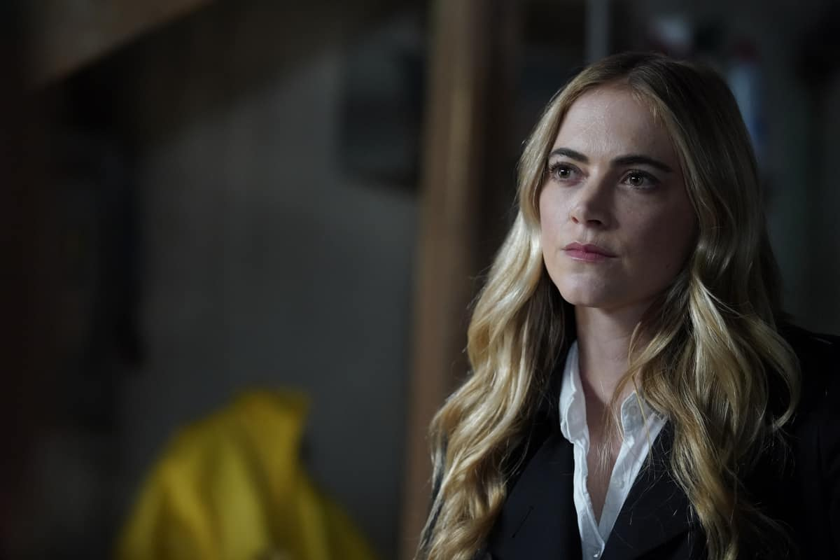 """NCIS Season 18 Episode 16 """"Rule 91"""" – While pursuing a dangerous arms dealer, the team is shocked when Bishop is implicated in an old NSA leak. Also, Gibbs and Marcie (Pam Dawber) realize that the killer they've been tracking may be onto them, on the 18th season finale of NCIS, Tuesday, May 25 (8:00-9:00 PM, ET/PT), on the CBS Television Network. Pictured: Emily Wickersham as NCIS Special Agent Eleanor """"Ellie"""" Bishop.   Photo: Cliff Lipson/CBS ©2021 CBS Broadcasting, Inc. All Rights Reserved."""