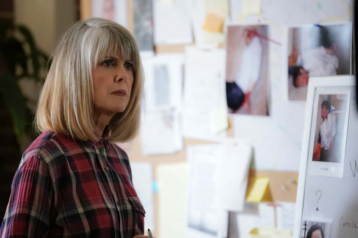 """NCIS Season 18 Episode 16 """"Rule 91"""" – While pursuing a dangerous arms dealer, the team is shocked when Bishop is implicated in an old NSA leak. Also, Gibbs and Marcie (Pam Dawber) realize that the killer they've been tracking may be onto them, on the 18th season finale of NCIS, Tuesday, May 25 (8:00-9:00 PM, ET/PT), on the CBS Television Network. Pictured: Pam Dawber as Marcie Warren. Photo: Cliff Lipson/CBS ©2021 CBS Broadcasting, Inc. All Rights Reserved."""