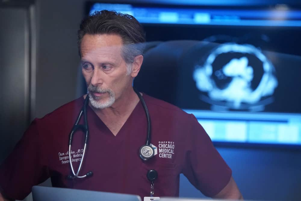 """CHICAGO MED Season 6 Episode 16 -- """"I Will Come To Save You"""" Episode 616 -- Pictured: Steven Weber as Dr. Dean Archer -- (Photo by: Elizabeth Sisson/NBC)"""