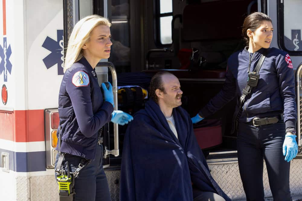 "CHICAGO FIRE Season 9 Episode 16 -- ""No Survivors"" Episode 916 -- Pictured: (l-r) Kara Killmer as Sylvie Brett, Hanako Greensmith as Violet -- (Photo by: Adrian S. Burrows Sr./NBC)"