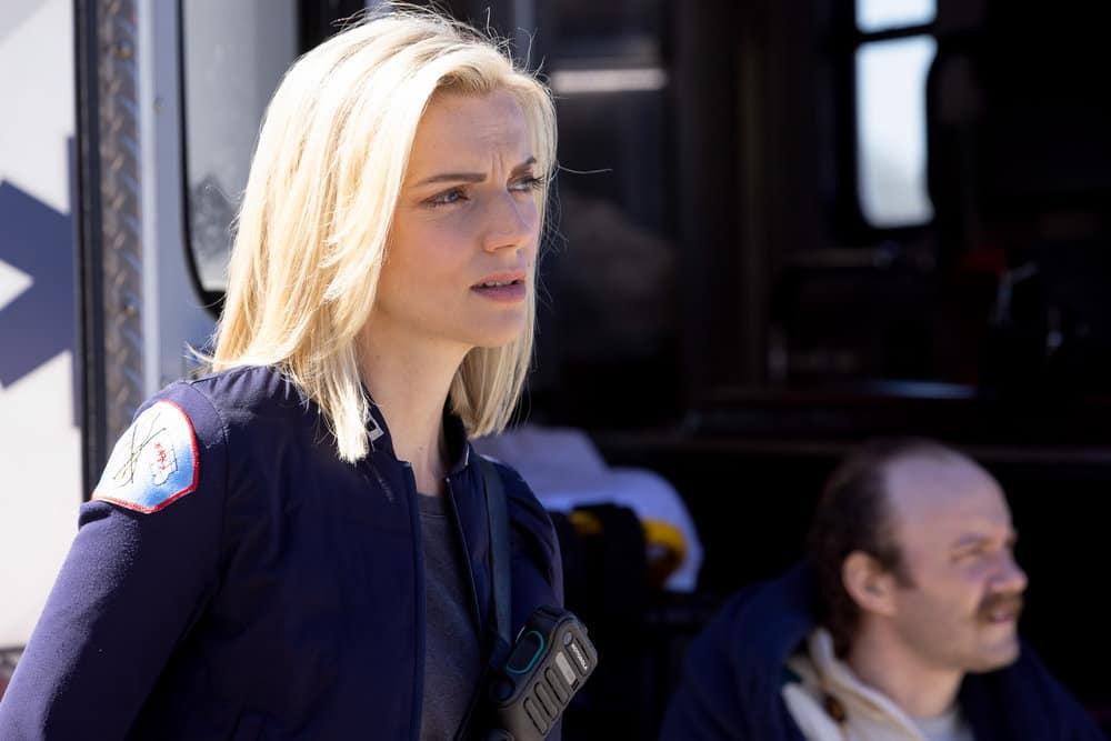 "CHICAGO FIRE Season 9 Episode 16 -- ""No Survivors"" Episode 916 -- Pictured: Kara Killmer as Sylvie Brett -- (Photo by: Adrian S. Burrows Sr./NBC)"