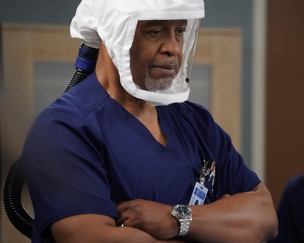 """GREY'S ANATOMY Season 17 Episode 16 - """"I'm Still Standing"""" – Levi gets accepted into the vaccine trial. Meanwhile, Amelia and Owen treat a car crash patient, and Hayes and Jo are met with Luna's legal guardian on a new episode of """"Grey's Anatomy,"""" THURSDAY, MAY 27 (9:00-10:01 p.m. EDT), on ABC. (ABC/Richard Cartwright) JAMES PICKENS JR."""