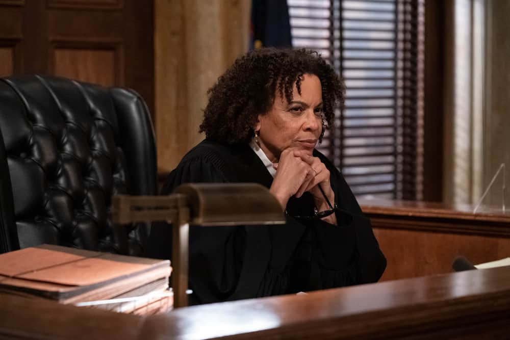 """LAW AND ORDER SVU Season 22 Episode 15 -- """"What Can Happen In The Dark"""" Episode 22015 -- Pictured: Amy Brabson as Judge Karyn Blake -- (Photo by: Heidi Gutman/NBC)"""