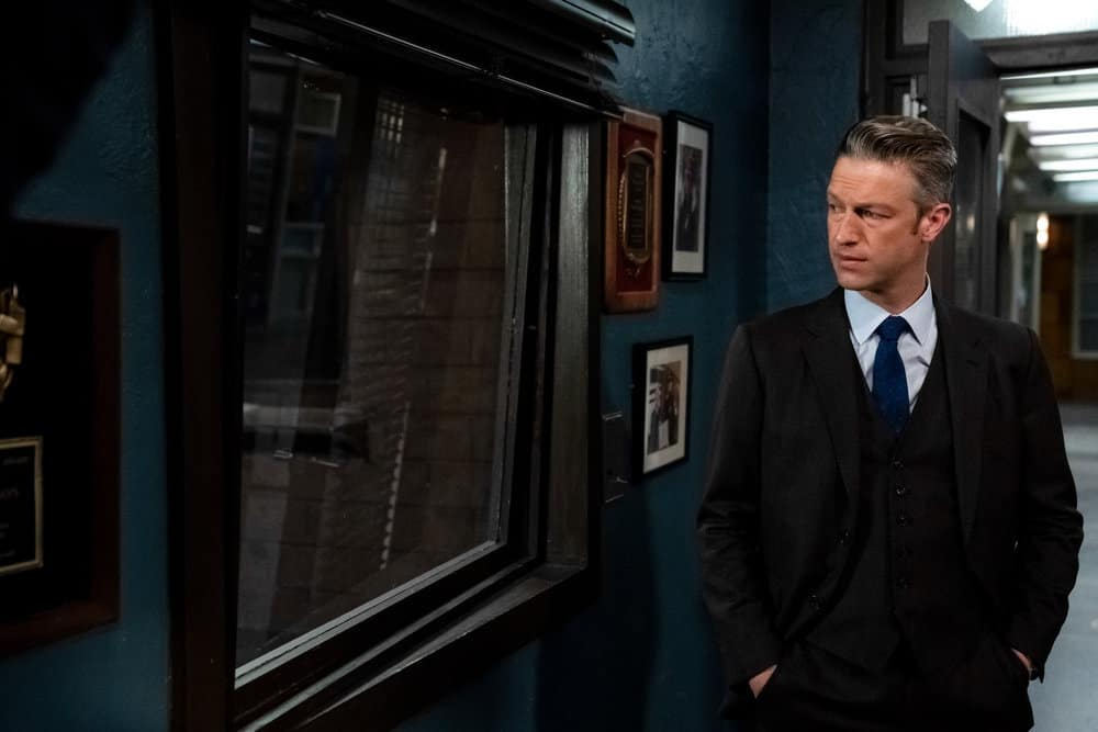 """LAW AND ORDER SVU Season 22 Episode 15 -- """"What Can Happen In The Dark"""" Episode 22015 -- Pictured: Peter Scanavino as Assistant District Attorney Sonny Carisi -- (Photo by: Heidi Gutman/NBC)"""