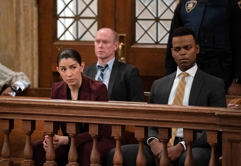"""LAW AND ORDER SVU Season 22 Episode 15 -- """"What Can Happen In The Dark"""" Episode 22015 -- Pictured: (l-r) Jamie Gray Hyder as Officer Katriona """"Kat"""" Azar Tamin, Demore Barnes as Deputy Chief Christian Garland -- (Photo by: Heidi Gutman/NBC)"""