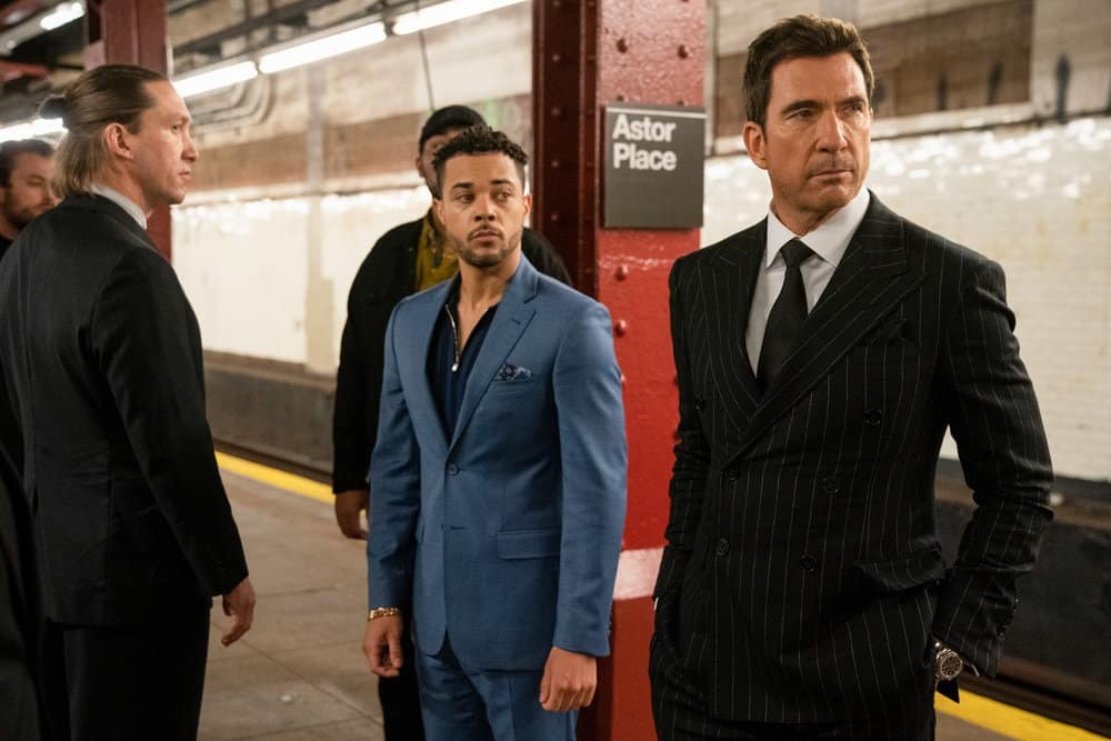 """LAW AND ORDER ORGANIZED CRIME Season 1 Episode 7 -- """"Everybody Takes A Beating Sometime"""" Episode 107 -- Pictured: (l-r) Nick Creegan as Richie Wheatley, Dylan McDermott as Richard Wheatley -- (Photo by: Virginia Sherwood/NBC)"""