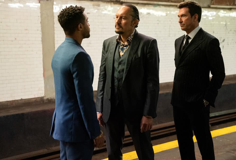 """LAW AND ORDER ORGANIZED CRIME Season 1 Episode 7 -- """"Everybody Takes A Beating Sometime"""" Episode 107 -- Pictured: (l-r) Ivo Nandi as Gianluca Silvano, Dylan McDermott as Richard Wheatley -- (Photo by: Virginia Sherwood/NBC)"""