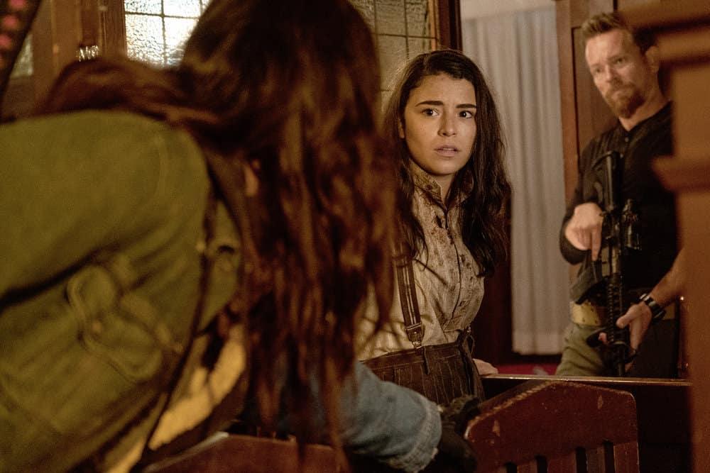 "VAN HELSING Season 5 Episode 7 -- ""Graveyard Smash"" Episode 507 -- Pictured: (l-r) Nicole Munoz as Jack, Jonathan Scarfe as Axel Miller -- (Photo by: Daniel Power/Nomadic Pictures Inc./SYFY)"