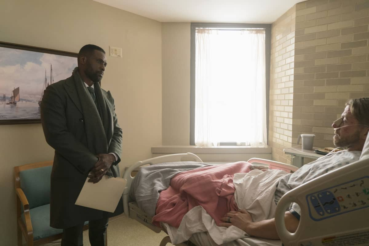 """THE CHI Season 4 Episode 2 (L-R): Curtiss Cook as Douda and Christian Litke as Officer Reeves in THE CHI, """"Cooley High"""". Photo credit: Elizabeth Sisson/SHOWTIME."""