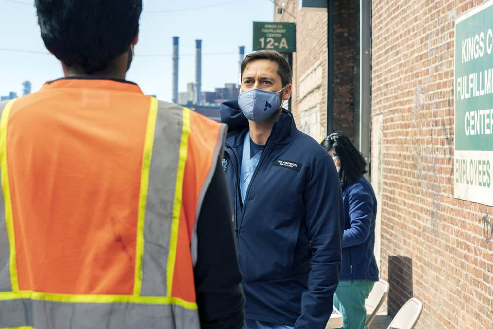 """NEW AMSTERDAM -- """"Fight Time"""" Episode 313 -- Pictured: Ryan Eggold as Dr. Max Goodwin -- (Photo by: Virginia Sherwood/NBC)"""