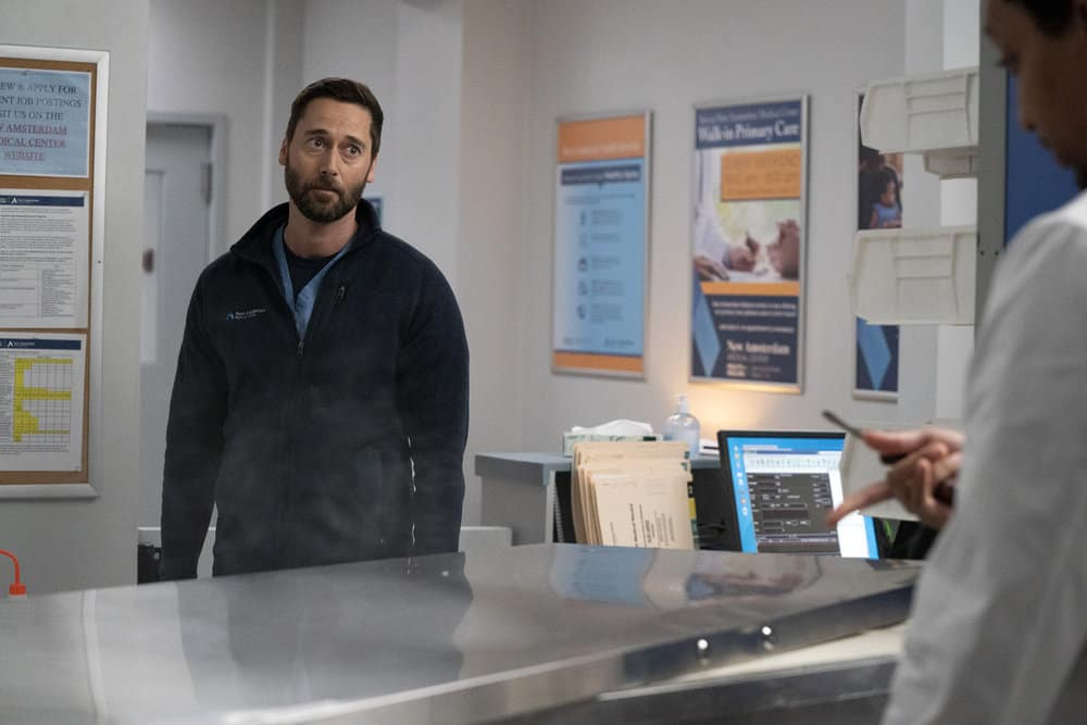 """NEW AMSTERDAM Season 3 Episode 13 -- """"Fight Time"""" Episode 313 -- Pictured: Ryan Eggold as Dr. Max Goodwin -- (Photo by: Virginia Sherwood/NBC)"""