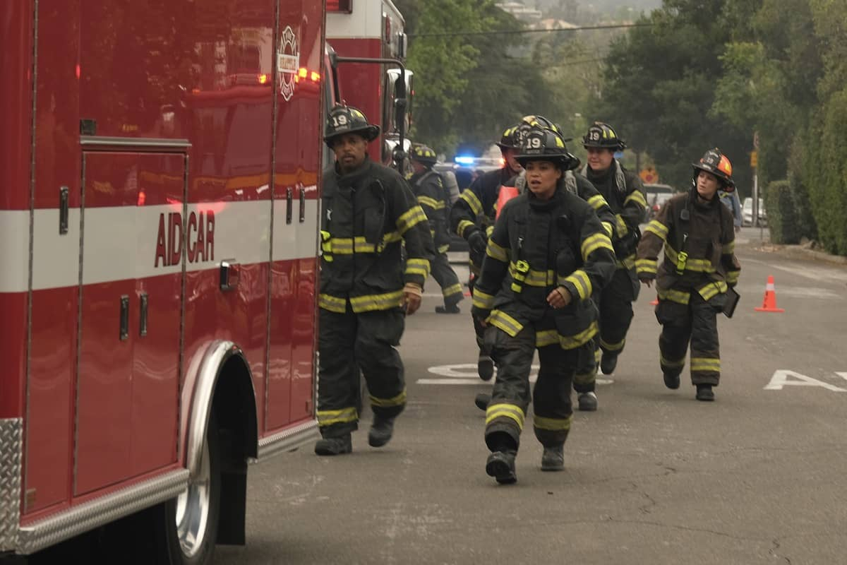 """STATION 19 Season 4 Episode 16 - """"Forever and Ever, Amen"""" – Maya addresses some unresolved family issues, and the crew takes matters into their own hands when faced with a life-or-death moment on scene. Meanwhile, Andy and Sullivan's marriage is put to the test on the season finale of """"Station 19,"""" THURSDAY, JUNE 3 (8:00-9:00 p.m. EDT), on ABC. (ABC/Ron Batzdorff) STATION 19"""
