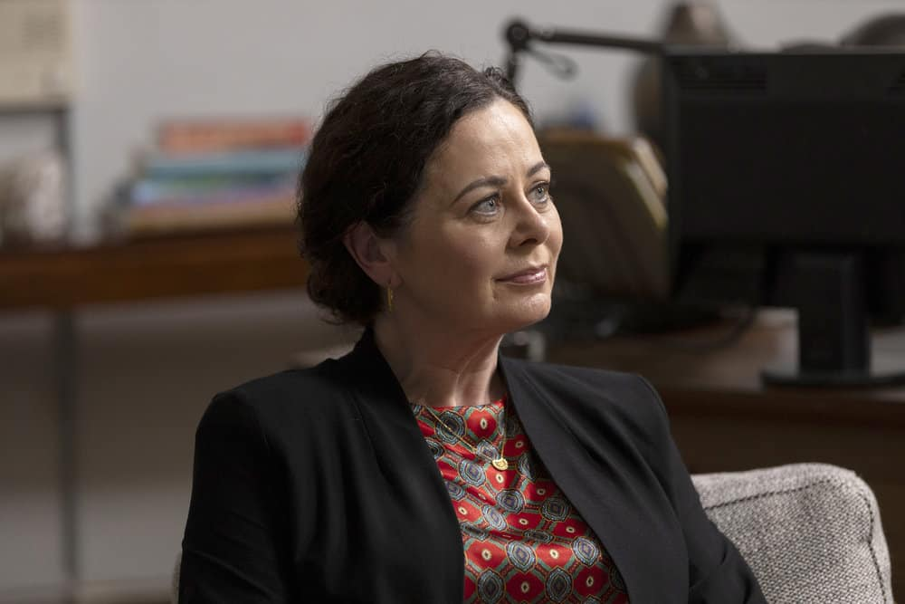 """LAW AND ORDER ORGANIZED CRIME Season 1 Episode 8 -- """"Forget It, Jake; It's Chinatown"""" Episode 108 -- Pictured: Geraldine Hughes as Dr. Katherine Carpenter-Grey -- (Photo by: Eric Liebowitz/NBC)"""