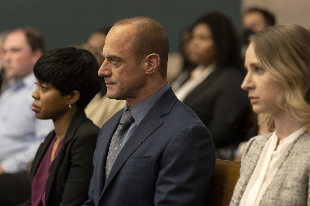 """LAW AND ORDER ORGANIZED CRIME Season 1 Episode 8 -- """"Forget It, Jake; It's Chinatown"""" Episode 108 -- Pictured: Danielle Moné Truitt as Sergeant Ayanna Bell, Christopher Meloni as Detective Elliot Stabler, Allison Siko as Kathleen Stabler -- (Photo by: Eric Liebowitz/NBC)"""
