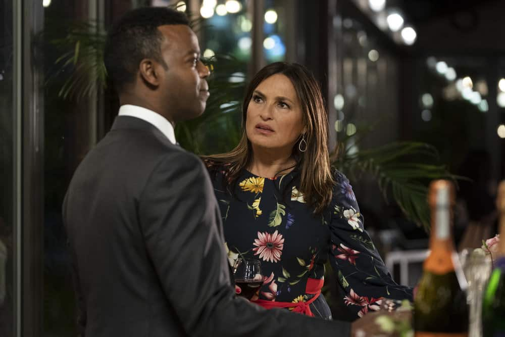 """LAW AND ORDER SVU Season 22 Episode 16 -- """"Wolves in Sheep's Clothing"""" Episode 22016 -- Pictured: (l-r) Demore Barnes as Deputy Chief Christian Garland, Mariska Hargitay as Captain Olivia Benson -- (Photo by: Virginia Sherwood/NBC)"""