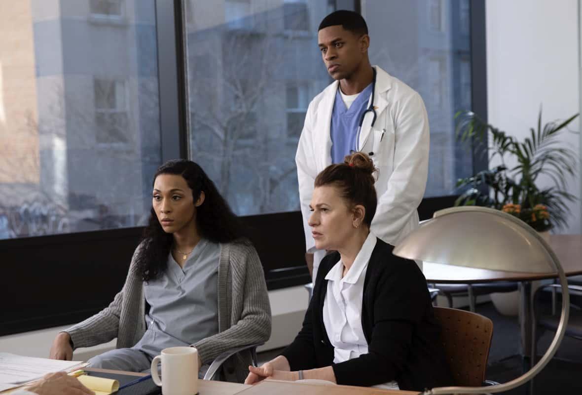 "POSE Season 3 Episode 7 -- ""Series Finale"" -- Season 3, Episode 7 (Airs June 6) Pictured: Mj Rodriguez as Blanca, Jeremy Pope as Christopher, Sandra Bernhard as Nurse Judy. CR: Eric Liebowitz/FX"