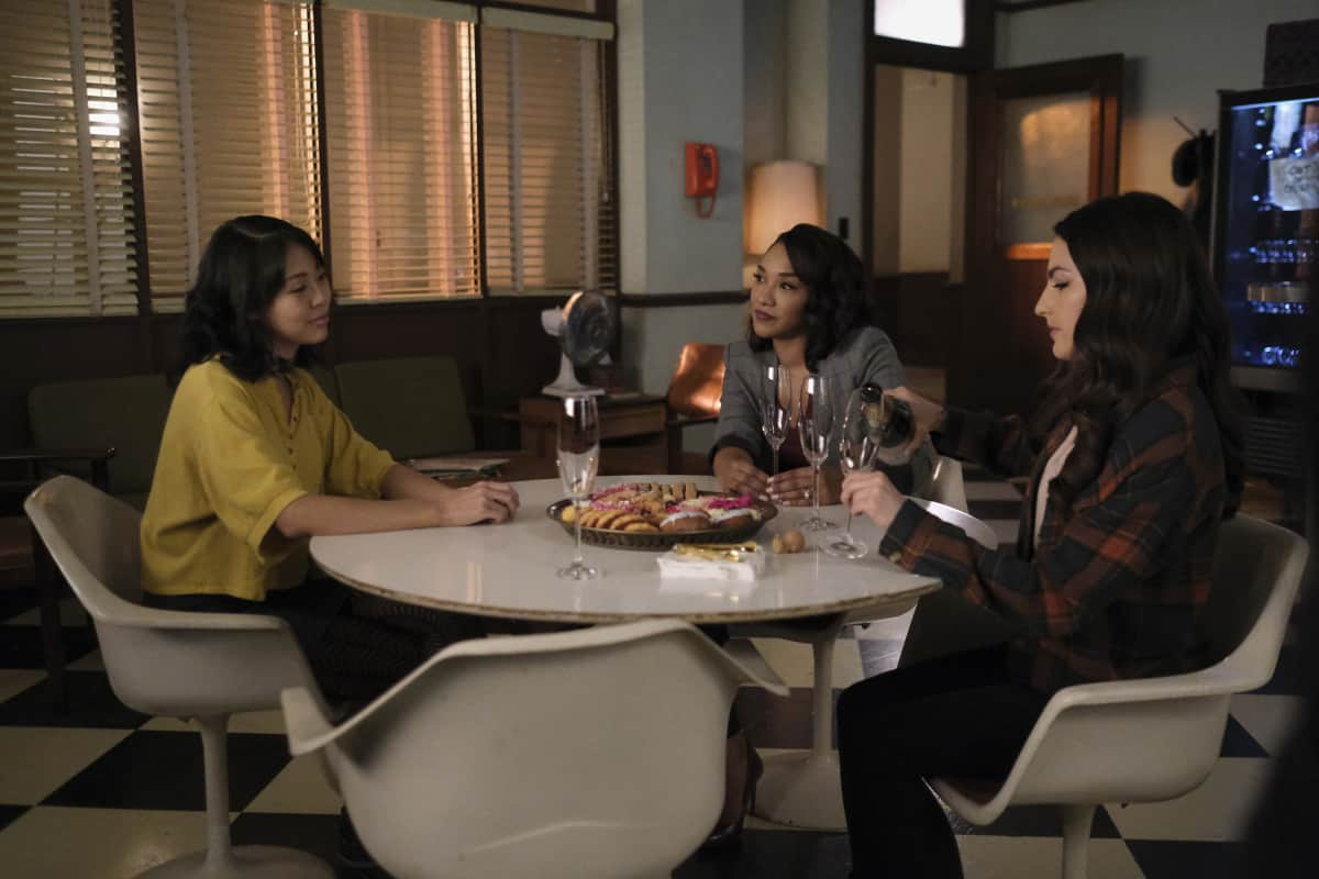 """THE FLASH Season 7 Episode 12 -- """"Good-Bye Vibrations"""" -- Image Number: FLA712a_0270r.jpg -- Pictured (L-R): Victoria Park as Kamilla, Candice Patton as Iris - West Allen and Kayla Compton as Allegra -- Photo: Bettina Strauss/The CW -- © 2021 The CW Network, LLC. All Rights Reserved.Photo Credit: Bettina Strauss"""