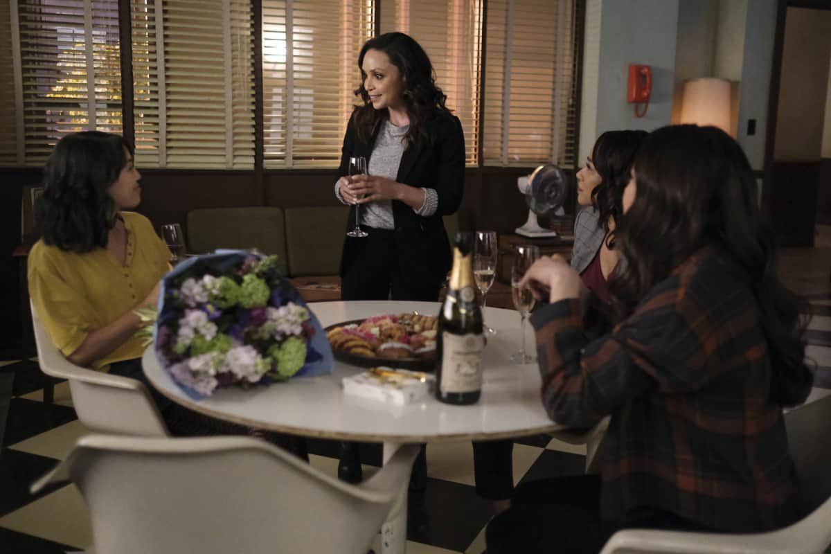 """THE FLASH Season 7 Episode 12 -- """"Good-Bye Vibrations"""" -- Image Number: FLA712a_0273r.jpg -- Pictured: Victoria Park as Kamilla,  Danielle Nicolet as Cecile Horton, Candice Patton as Iris West - Allen and Kayla Compton as Allegra -- Photo: Bettina Strauss/The CW -- © 2021 The CW Network, LLC. All Rights Reserved.Photo Credit: Bettina Strauss"""
