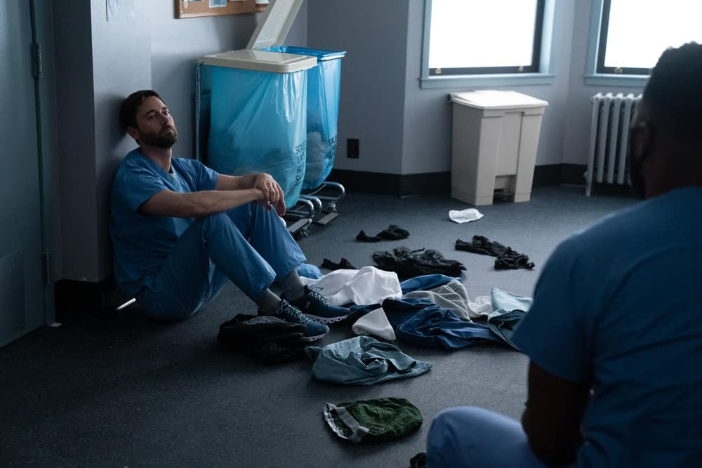 """NEW AMSTERDAM Season 3 Episode 14 -- """"Death Begins in Radiology"""" Episode 314 -- Pictured: Ryan Eggold as Dr. Max Goodwin -- (Photo by: Virginia Sherwood/NBC)"""