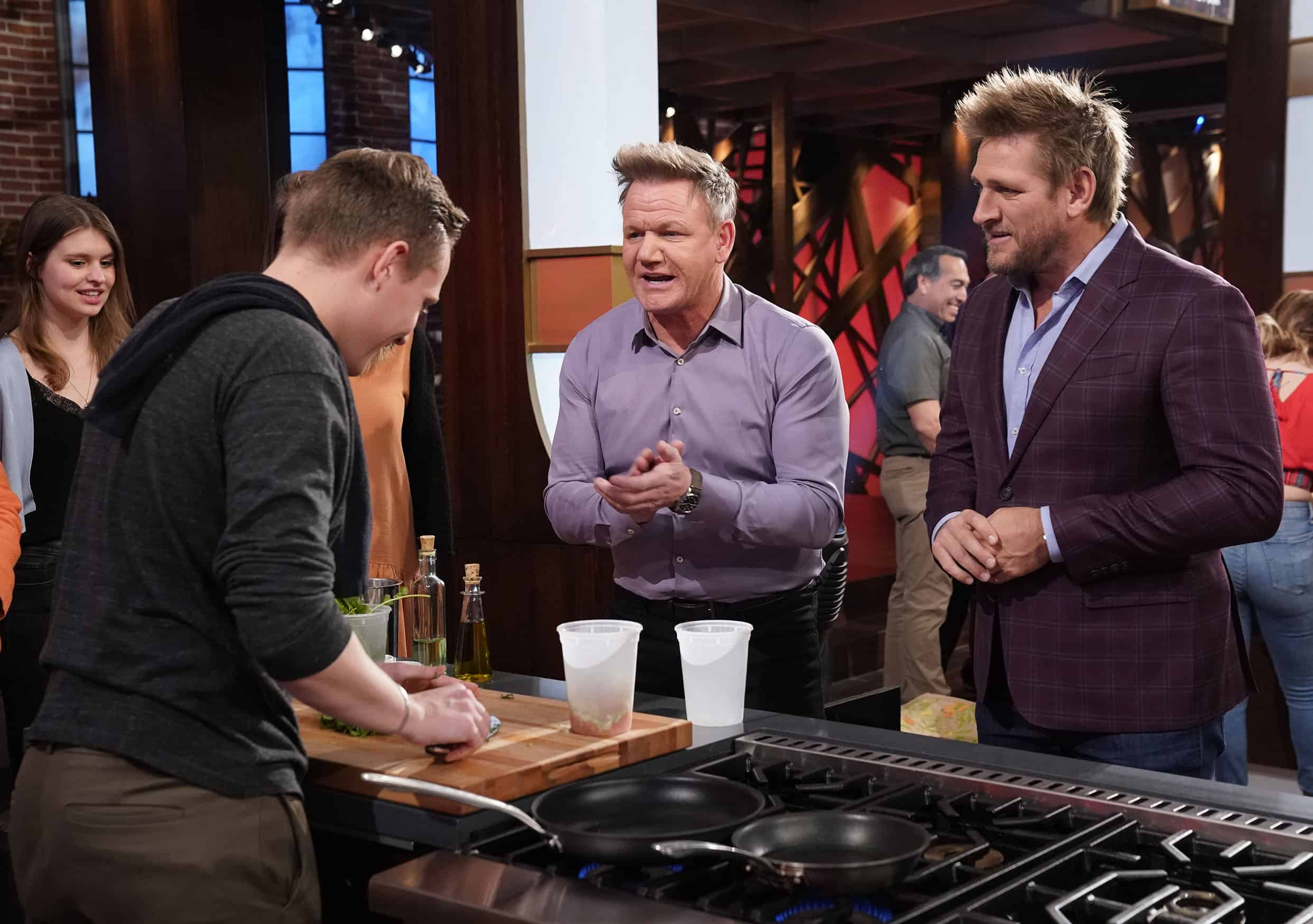 """MASTERCHEF Season 11 Episode 2 : L-R: A contestant with chef/judge Gordon Ramsay and guest judge Curtis Stone in the """"Legends: Curtis Stone - Auditions Round 2"""" episode of MASTERCHEF airing Wednesday, June 9 (8:00-9:00 PM ET/PT) on FOX. © 2019 FOX MEDIA LLC. CR: FOX."""