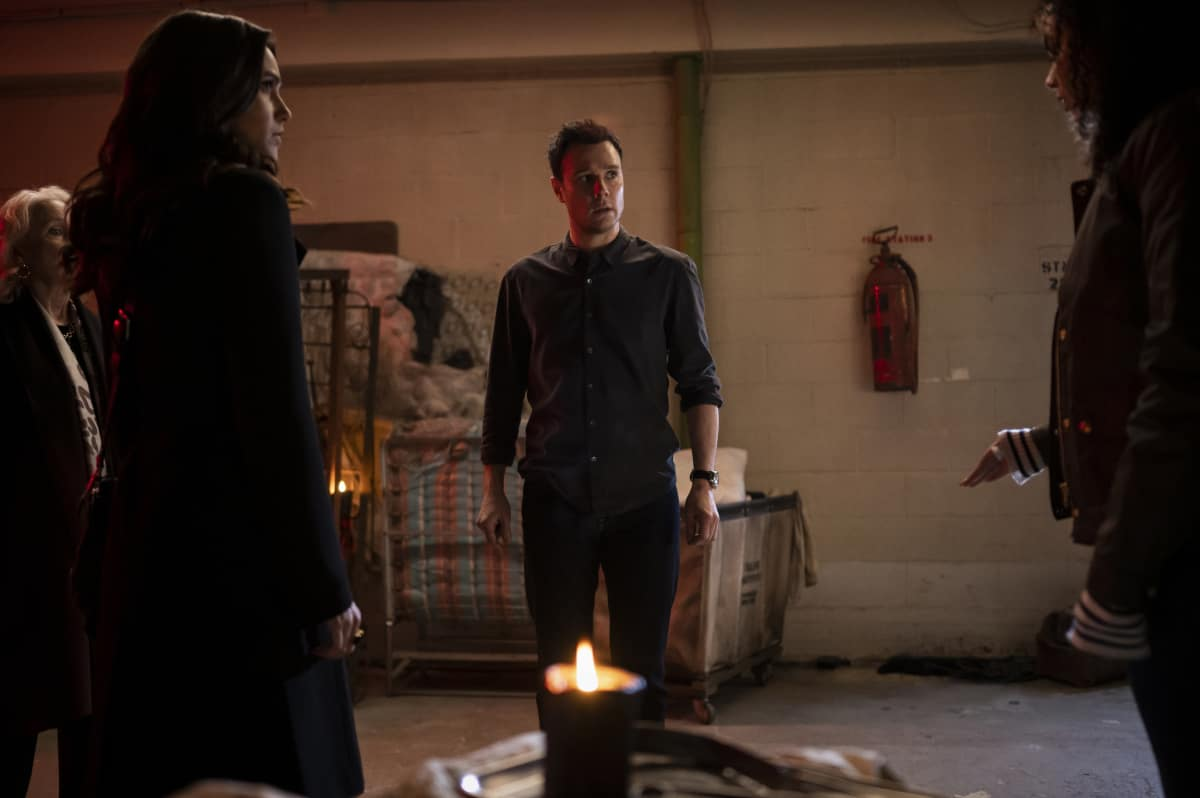 """CHARMED Season 3 Episode 14 -- """"Perfecti is the Enemy of the Good"""" -- Image Number: CMD314b_0004r -- Pictured (L-R): Poppy Drayton as Abigael, Kate Burton as Celeste, Rupert Evans as Harry Greenwood and Madeleine Mantock as Macy Vaughn -- Photo: Kailey Schwerman/The CW -- © 2021 The CW Network, LLC. All Rights Reserved."""