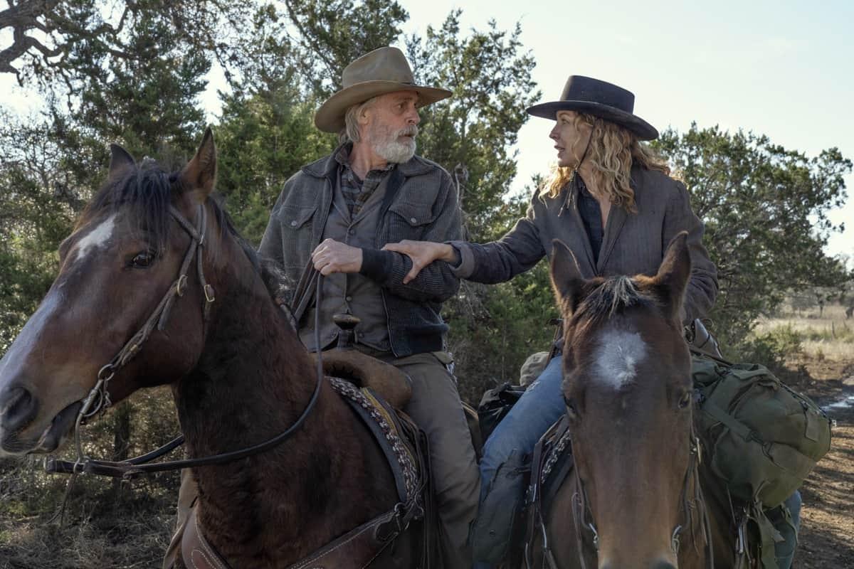 FEAR THE WALKING DEAD Season 6 Episode 16 Jenna Elfman as June, Keith Carradine as John Dorie Sr. - Fear the Walking Dead _ Season 6, Episode 16 - Photo Credit: Ryan Green/AMC
