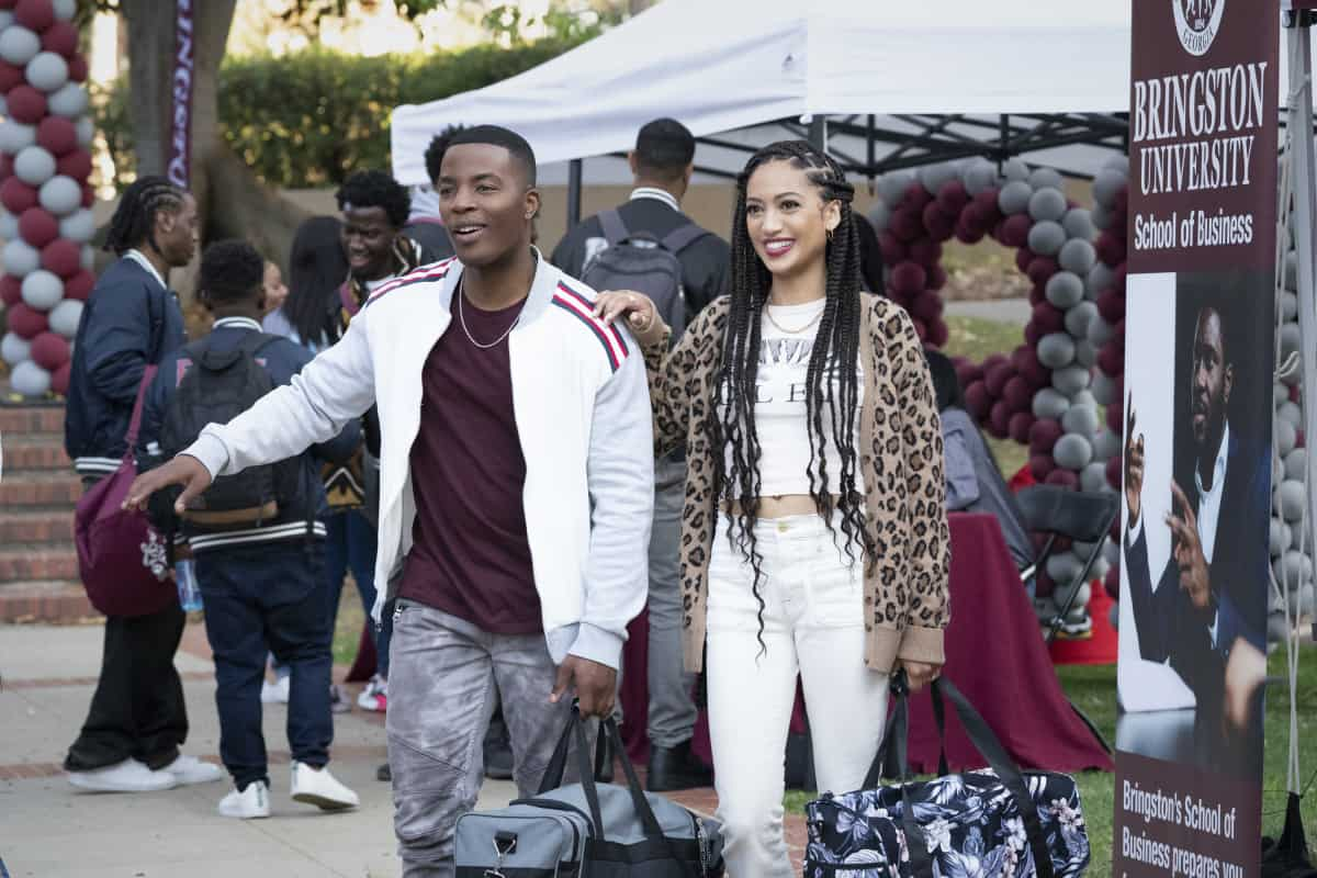 """ALL AMERICAN Season 3 Episode 17 -- """"All American: Homecoming"""" -- Image Number: ALA316a_1357r.jpg -- Pictured (L-R): Daniel Ezra as Spencer and Samantha Logan as Olivia  -- Photo: Bill Inoshita/The CW -- © 2021 The CW Network, LLC. All Rights Reserved"""
