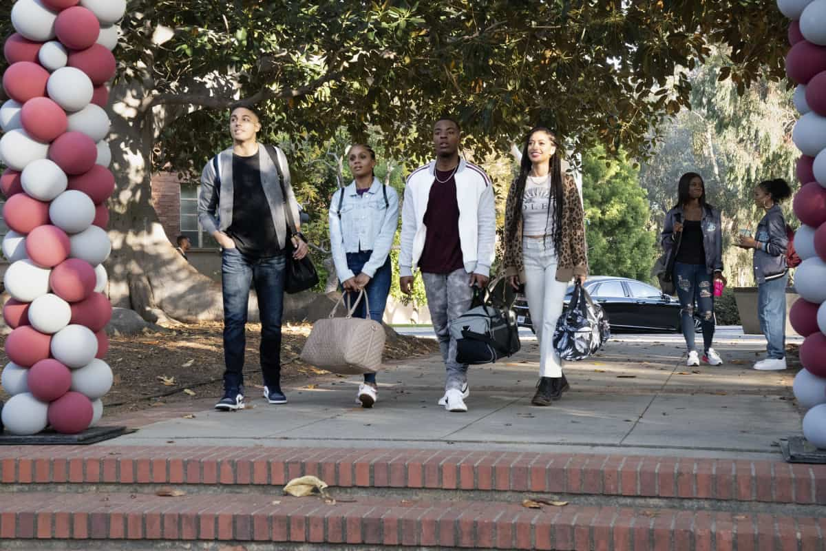 """ALL AMERICAN Season 3 Episode 17 -- """"All American: Homecoming"""" -- Image Number: ALA316a_1227r.jpg -- Pictured (L-R): Michael Evans Behling as Jordan, Geffri Maya as Simone, Daniel Ezra as Spencer and Samantha Logan as Olivia -- Photo: Bill Inoshita/The CW -- © 2021 The CW Network, LLC. All Rights Reserved"""