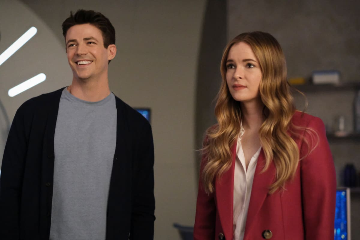 """THE FLASH Season 7 Episode 16 -- """"P.O.W."""" -- Image Number: FLA716b_BTS_0020r.jpg – Pictured (L-R): Brandon McKnight as Chester P. Runk, David Ramsey as John Diggle, Grant Gustin as Barry Allen and Danielle Nicolet as Cecile Horton -- Photo: Bettina Strauss/The CW -- © 2021 The CW Network, LLC. All Rights Reserved. Photo Credit: Bettina Strauss"""