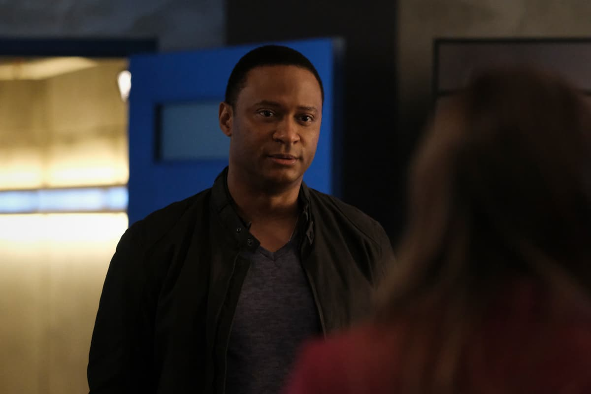 """THE FLASH Season 7 Episode 16 -- """"P.O.W."""" -- Image Number: FLA716a_0266r.jpg -- Pictured: David Ramsey as John Diggle -- Photo: Bettina Strauss/The CW -- © 2021 The CW Network, LLC. All Rights Reserved. Photo Credit: Bettina Strauss"""