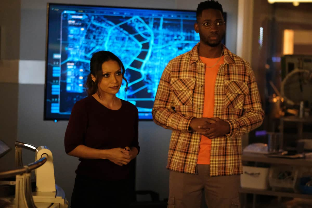 """The Flash -- """"P.O.W."""" -- Image Number: FLA716a_0003r.jpg -- Pictured (L-R): Danielle Nicolet as Cecile Horton and Brandon McKnight as Chester P. Runk -- Photo: Bettina Strauss/The CW -- © 2021 The CW Network, LLC. All Rights Reserved. Photo Credit: Bettina Strauss"""