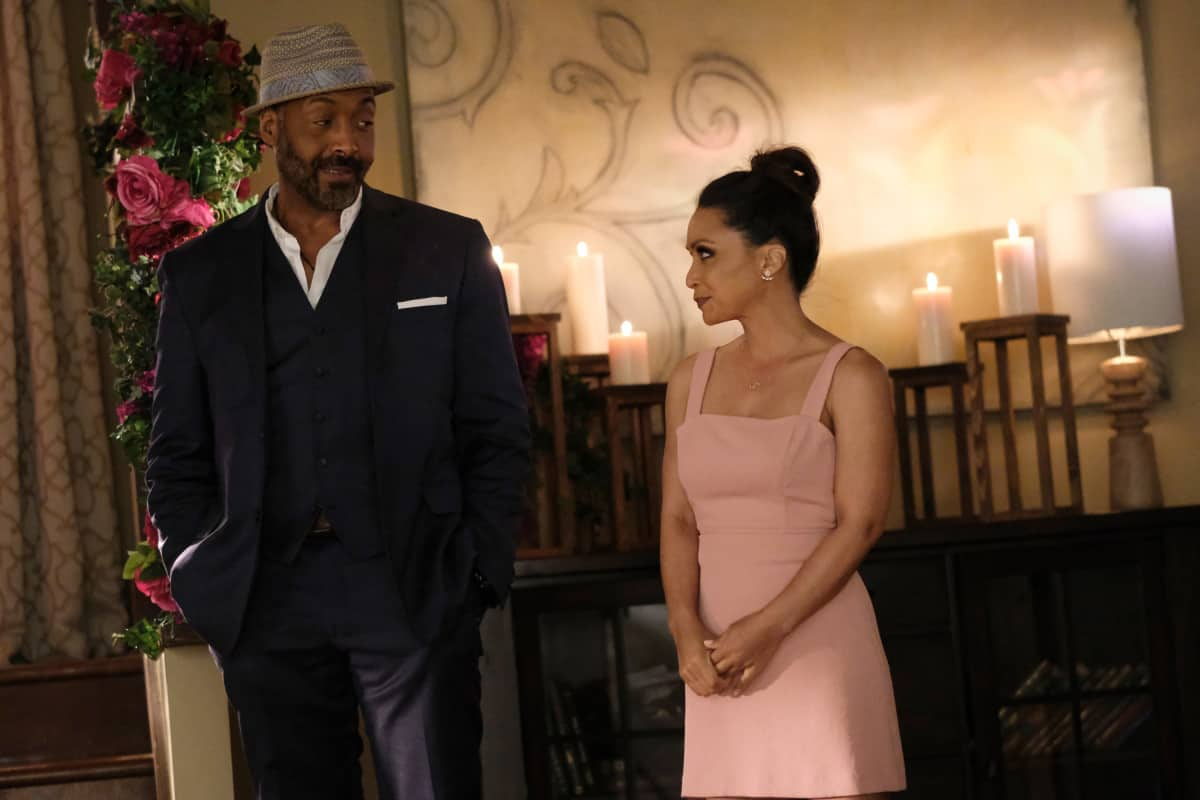 """THE FLASH Season 7 Episode 18 -- """"Heart of the Matter, Part 2"""" -- Image Number: FLA718a_0154r.jpg -- Pictured (L-R): Jesse L. Martin as Captain Joe West and Danielle Nicolet as Cecile Horton -- Photo: Bettina Strauss/The CW -- © 2021 The CW Network, LLC. All Rights Reserved"""