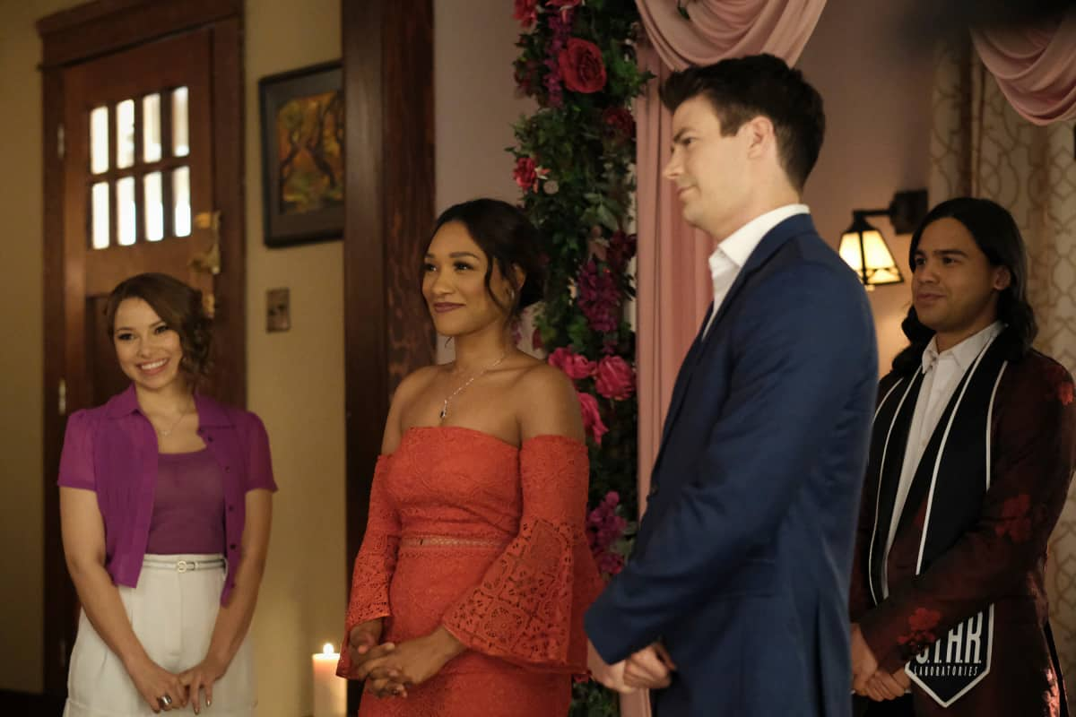 """THE FLASH Season 7 Episode 18 -- """"Heart of the Matter, Part 2"""" -- Image Number: FLA718a_0151r.jpg -- Pictured (L-R):  Jessica Parker Kennedy as Nora/XS, Candice Patton as Iris West - Allen, Grant Gustin as Barry Allen and Carlos Valdes as Cisco Ramon -- Photo: Bettina Strauss/The CW -- © 2021 The CW Network, LLC. All Rights Reserved"""
