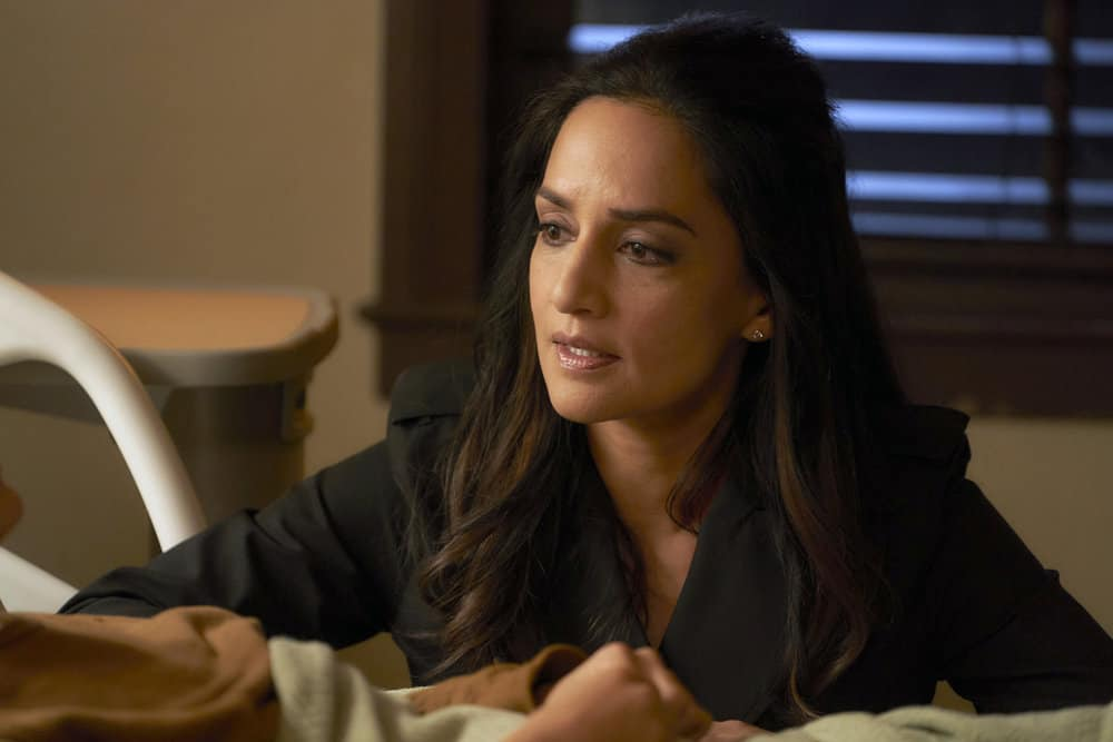 """DEPARTURE -- """"Runaway"""" Episode 201 -- Pictured: Archie Panjabi as Kendra Malley -- (Photo by: Steve Wilkie/Shaftesbury/Greenpoint Productions/Peacock)"""