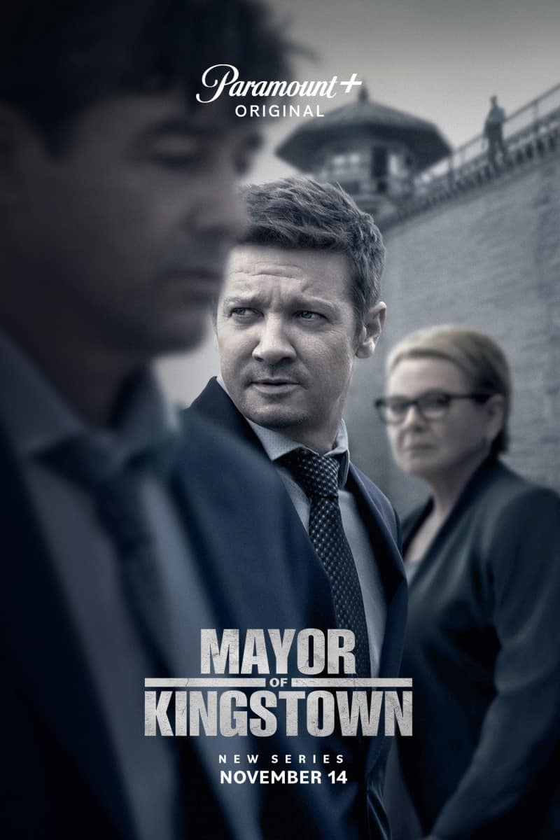 Pictured (L-R): Kyle Chandler, Jeremy Renner and Dianne West of the Paramount+ series MAYOR OF KINGSTOWN. Photo Cr: Emerson Miller/ViacomCBS ©2021 Paramount+, Inc. All Rights Reserved.