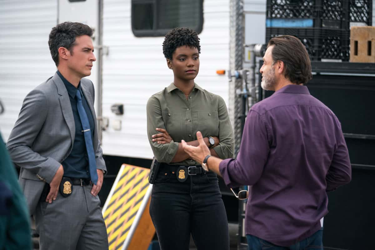 """FBI Season 4 Episode 1 """"All that Glitters"""" - After a young woman is killed on her way home from a lavish yacht party, the team investigates who she was and how she came to be at the event attended by some of the most influential people in the world. Also, Maggie brings Crosby (Kellan Lutz, FBI: MOST WANTED) into the investigation after a murder suspect is identified as a veteran who had been on several Army operations with Crosby, in the first part of a special three-part crossover event and the fourth season premiere of FBI, Tuesday, Sept. 21 (8:00-9:00 PM, ET/PT) on the CBS Television Network and available to stream live and on demand on the CBS app and Paramount+.  Pictured ( L-R) John Boyd as Special Agent Stuart Scola,  Katherine Renee Turner as Special Agent Tiffany Wallace and Tony Crane as Mickey Doak Photo: Michael Parmelee/ 2021 CBS Broadcasting, Inc. All Rights Reserved."""