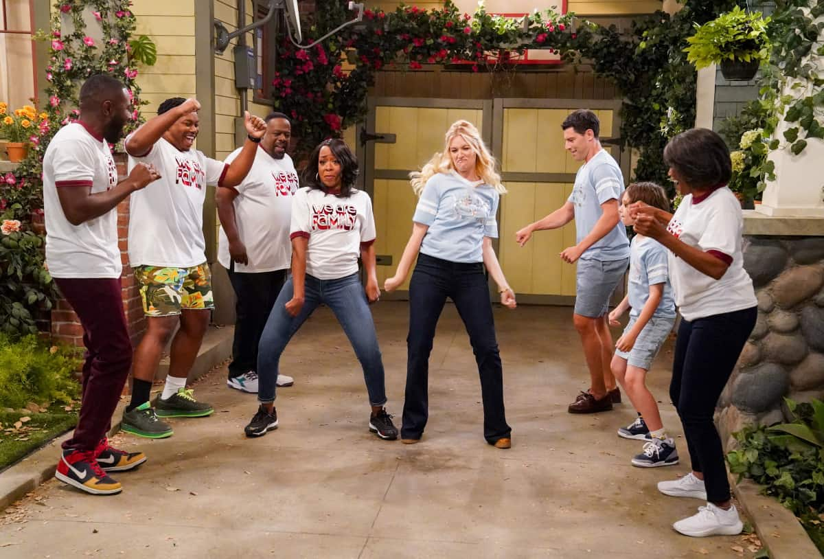 """THE NEIGHBORHOOD Season 4 Episode 1 """"Welcome to the Family"""" - Pictured: Sheaun McKinney (Malcolm Butler), Max Greenfield (Dave Johnson), Cedric the Entertainer (Calvin Butler), Tichina Arnold (Tina Butler), Beth Behrs (Gemma Johnson), Max Greenfield (Dave Johnson), Hank Greenspan (Grover Johnson) and Margaret Avery (Aunt Desiray). When Dave starts researching his genealogy, he makes a surprising discovery: He and Calvin are more than just neighbors. Also, Tina offers to help Gemma when she's overcome with morning sickness, and inadvertently stumbles on a new business idea, on the fourth season premiere of THE NEIGHBORHOOD, Monday, Sept. 20 (8:00-8:30 PM, ET/PT) on the CBS Television Network and available to stream live and on demand on the CBS app and Paramount+. Photo: Monty Brinton/CBS ©2021 CBS Broadcasting, Inc. All Rights Reserved."""