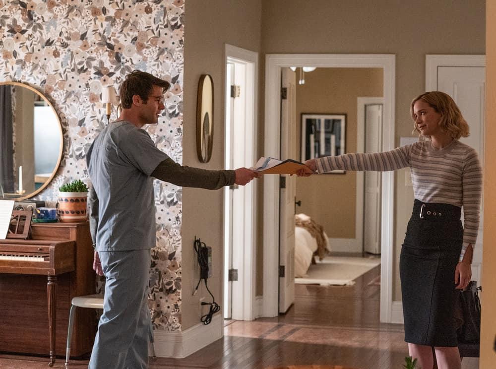 """ORDINARY JOE Season 1 Episode 1 -- """"Pilot"""" -- Pictured: (l-r) James Wolk as Joe Kimbreau, Elizabeth Lail as Jenny Banks -- (Photo by: Sandy Morris/NBC)"""