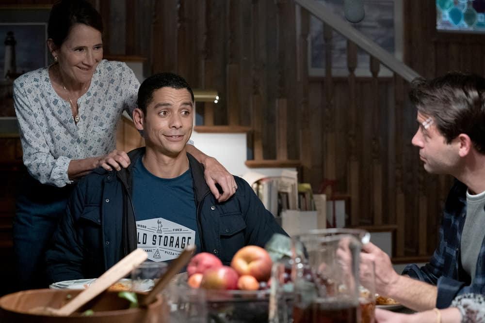 "ORDINARY JOE Season 1 Episode 1 -- ""Pilot"" -- Pictured: (l-r) Anne Ramsay as Gwen, Charlie Barnett as Eric Payne, James Wolk as Joe Kimbreau -- (Photo by: Sandy Morris/NBC)"